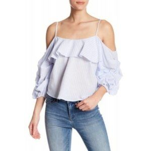ASTR The Label Off Shoulder Striped Blouse